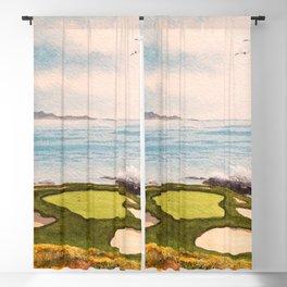 Pebble Beach Golf Course Signature Hole 7 Blackout Curtain