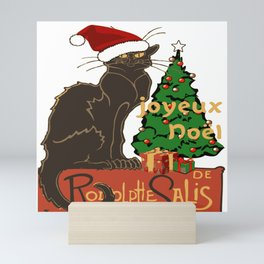 Joyeux Noel Le Chat Noir With Tree And Gifts Mini Art Print