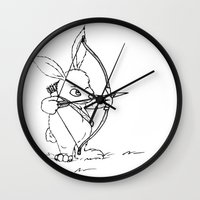 archer Wall Clocks featuring Bunny Archer by mikaelak