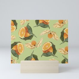 Oranges and Physalis Fruits Pattern on green Background Mini Art Print