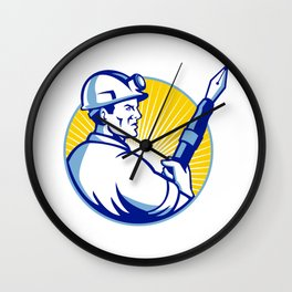 Coal Miner Fountain Pen Mascot Wall Clock