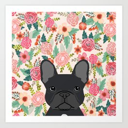 French Bulldog floral dog head cute pet gifts dog breed frenchies Art Print