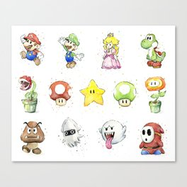Mario Characters Watercolor Geek Gaming Videogame Canvas Print