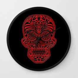 Intricate Red and Black Day of the Dead Sugar Skull Wall Clock
