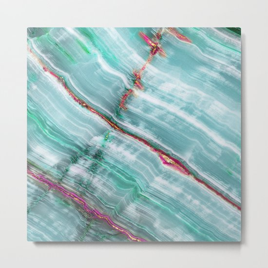 Jade Mint Marble Paint Abstract  Metal Print