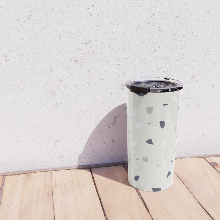 Midnight Navy Gray Creme Terrazzo #1 #decor #art #society6 Travel Mug