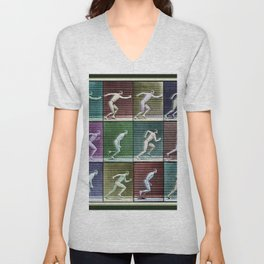 Time Lapse Motion Study Man Running Monochrome Unisex V-Neck