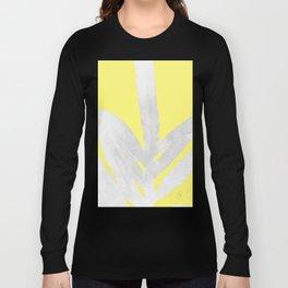 Green Fern on Lemon Yellow Inverted Long Sleeve T-shirt
