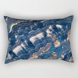Blue marble with Golden streaks Rectangular Pillow