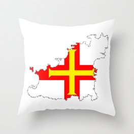 Guernsey Outline Silhouette Map With Inset Flag Throw Pillow