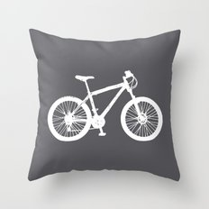 Mountain Bike Charcoal Throw Pillow