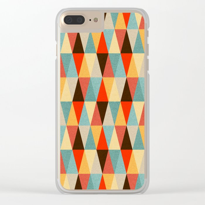 Red & Brown Geometric Triangle Pattern Clear iPhone Case