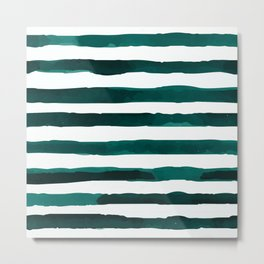 Watercolor Stripes (Emerald Green) Metal Print