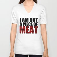 meat V-neck T-shirts featuring MEAT by Nathan