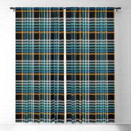 Vibrant modern Scottish lines on black Blackout Curtain