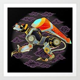 Black Lion Batik Art Print