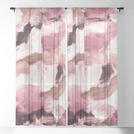 abstract painting VI - coffee and rose Sheer Curtain