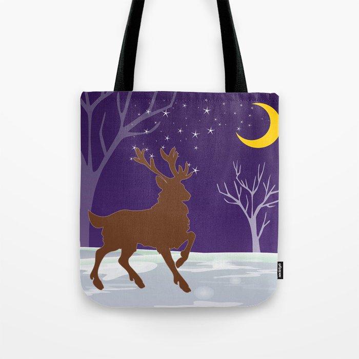 Deer on the ice Tote Bag