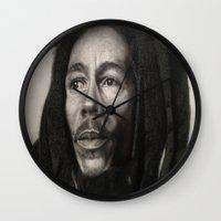 marley Wall Clocks featuring Marley Drawing by Wega13Art