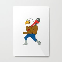 Bald Eagle Plumber Monkey Wrench Circle Cartoon Metal Print