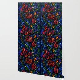 Flowers in Flame Wallpaper