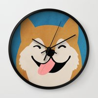 shiba Wall Clocks featuring Shiba Smile by Hello Hoku
