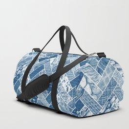 Hygge Style Textured Herringbone Pattern – Navy Blue Duffle Bag