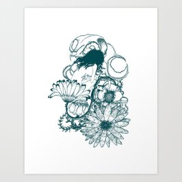 skull with flowers and nude girl Art Print