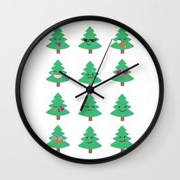 Christmas Tree Funny Emoji Emoticon Faces Holiday Wall Clock