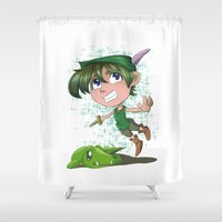 peter pan Shower Curtains featuring Peter Pan by EY Cartoons
