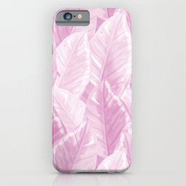 Modern Hand-painted Watercolor Giant Tropical Leaves Pattern, Pastel Purple Color  iPhone Case