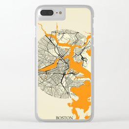 Boston Map Moon Clear iPhone Case