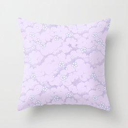 Kumori Nochi Sakura: Purple Throw Pillow
