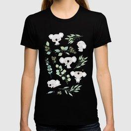 Koala and Eucalyptus Pattern T-shirt