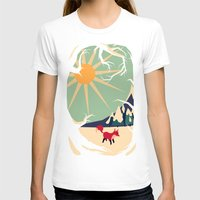 poster T-shirts featuring Fox roaming around II by Yetiland