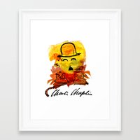 charlie chaplin Framed Art Prints featuring Charlie Chaplin by Genco Demirer