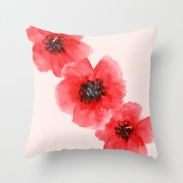 S is for Savasana | Red Poppies  Throw Pillow
