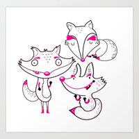 foxes Art Prints featuring Foxes by Maria Jose Da Luz