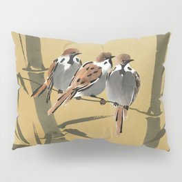 Three Sparrows In Bamboo Tree Pillow Sham