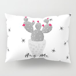 Hug Me Cactus in Pot Hearts Design Pillow Sham
