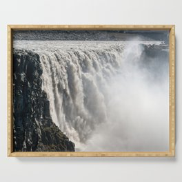 Dettifoss Waterfall in Vatnajokull National Park - Northeast Iceland Serving Tray