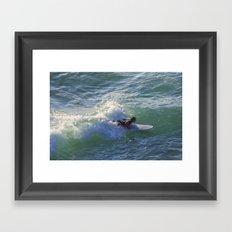 Surfer Chapple Porth Cornwall Framed Art Print