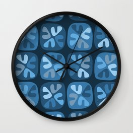 blue boomerangs Wall Clock