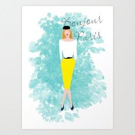 Bonjour Paris Art Print