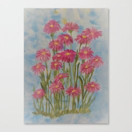 Asters Acrylic Floral Painting by Rosie Foshee for wall decor, and to share by stationary & stickers Canvas Print