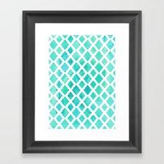 Watercolor Mint Diamonds Framed Art Print