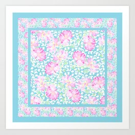 Roses and Butterflies Faux Patchwork Art Print