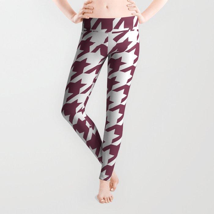 Purple, Mulberry: Houndstooth Pattern Leggings