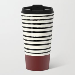 Dark Ruby & Stripes Metal Travel Mug