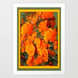 Sage Green Art Golden California Poppies Design Art Print